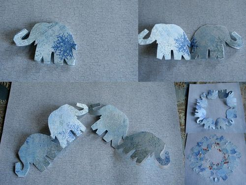 Vintage swap 10 paper cutting magic elephant