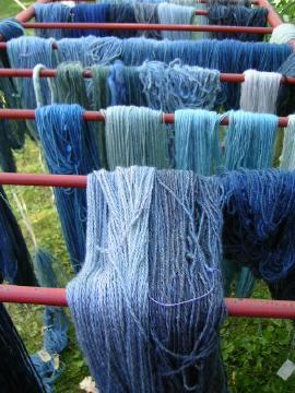 Blue dyed yarn
