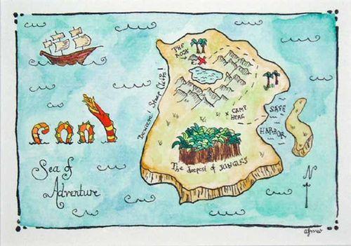 Hand drawn treasure map